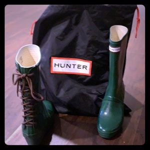 Hunter mid calf lace up rain boots size 8
